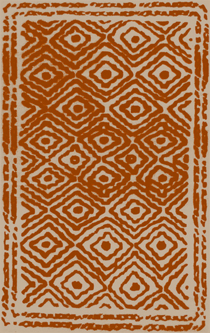 2' x 3' Diamond Essence Burnt Orange and Ivory Hand Woven Wool Area Throw Rug - IMAGE 1