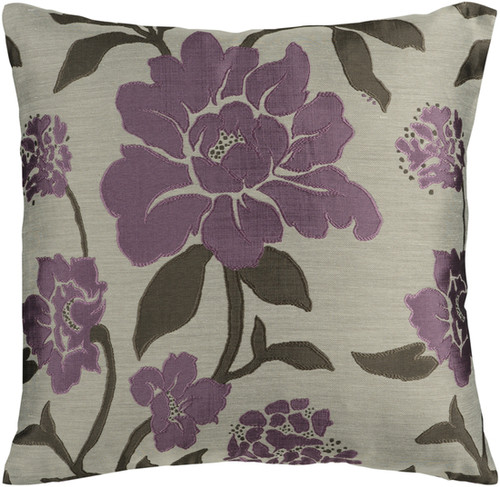 "18"" Purple and Gray Contemporary Floral Square Throw Pillow Cover - IMAGE 1"
