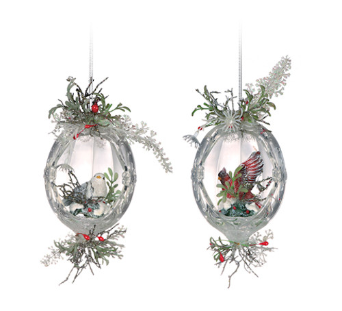 "Club Pack of 12 Clear Icy Crystal Christmas Oval Inlaid Bird Ornaments 5.5"" - IMAGE 1"