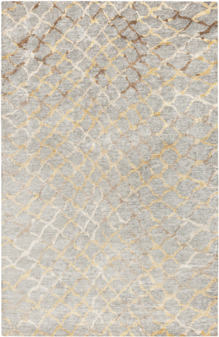 8' x 11' Ivory Contemporary Hand-Knotted Area Throw Rug - IMAGE 1