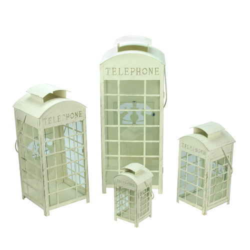 """Set of 4 Weathered Cream and Gold Telephone Booth Glass Pillar Candle Lanterns 8.75"""" - 25"""" - IMAGE 1"""
