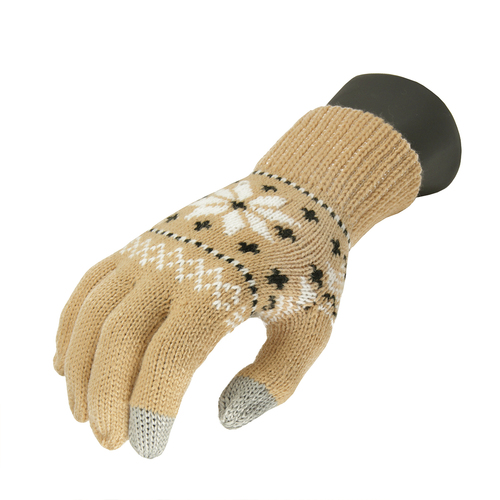 Unisex Light Khaki Jacquard Knit Winter Touchscreen Gloves - One Size - IMAGE 1