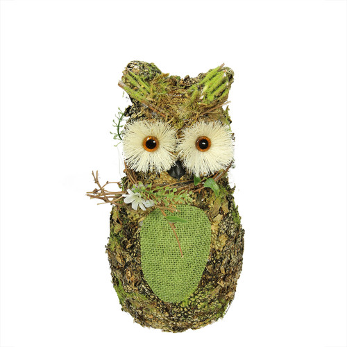 """11"""" Brown and Green Decorative Owl Spring Table Top Figure - IMAGE 1"""