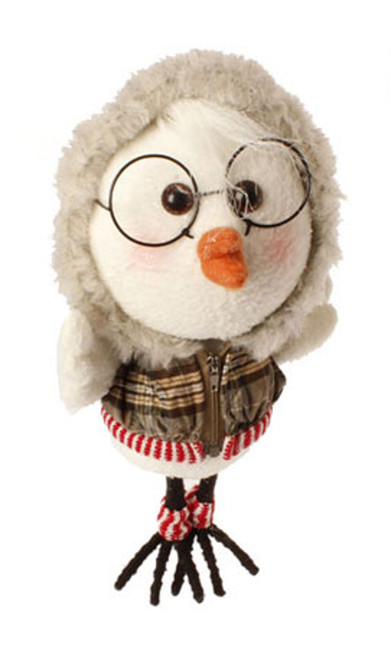 """9"""" White and Brown Plaid Trimmed Hoodie Bird Christmas Ornament - IMAGE 1"""