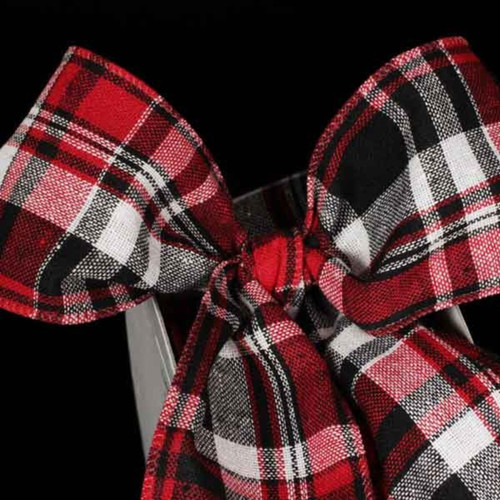 """Red and Black Kilt Wired Craft Ribbon 2.5"""" x 40 Yards - IMAGE 1"""