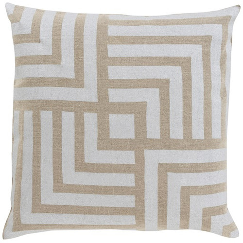 """18"""" Gray and Brown Contemporary Geometric Square Throw Pillow - Down Filler - IMAGE 1"""