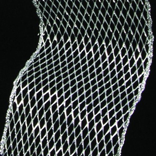 """Shining Silver Open Mesh Wired Craft Ribbon 6"""" x 20 Yards - IMAGE 1"""