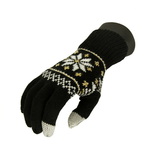 Unisex Black Jacquard Knit Winter Touchscreen Gloves - One Size - IMAGE 1