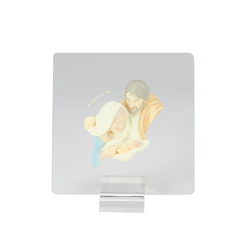 """6.5"""" Gray and Beige Holy Family Christmas Nativity Plaque - IMAGE 1"""
