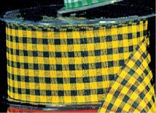 "Yellow and Black Gingham Cut Edge Ribbon 1.5"" x 132 Yards - IMAGE 1"