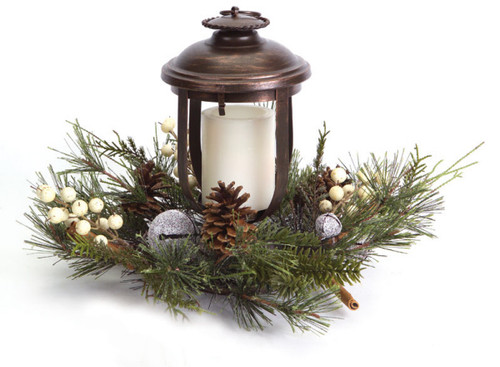 "11"" Woodland Inspired Lantern with Frosted Pine and Jingle Bell Christmas Pillar Candle Holder - IMAGE 1"
