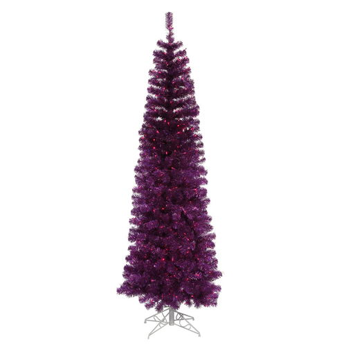 10' Pre-Lit Pencil Pine Artificial Christmas Tree - Purple Lights - IMAGE 1