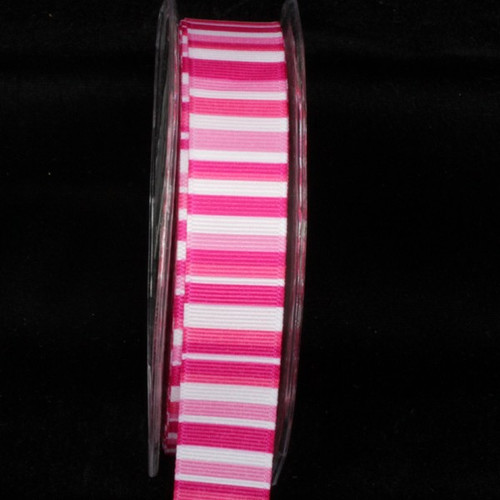 """Vibrant Pink and White Ingas Rainbow Grosgrain Craft Ribbon 1"""" x 54 Yards - IMAGE 1"""