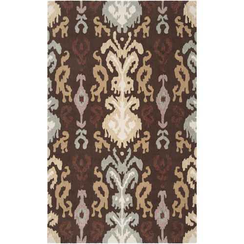 5' x 8' White and Taupe Hand Hooked Rectangular Area Throw Rug - IMAGE 1