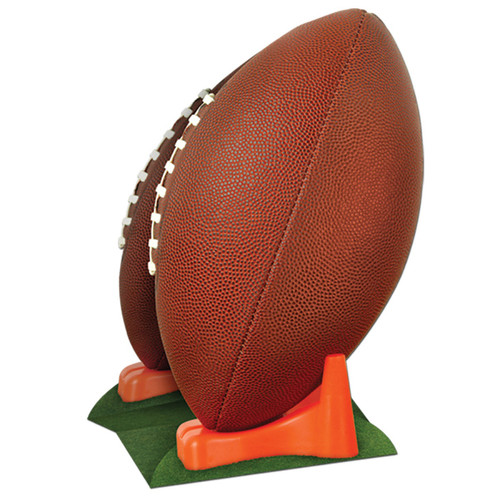 """Pack of 12 Brown 3-D Football on Kicking Tee Centerpieces 11"""" - IMAGE 1"""