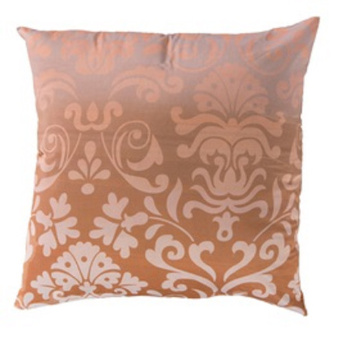 """22"""" Brown and Ivory Floral Pattern Indoor Square Throw Pillow - Poly Filled - IMAGE 1"""