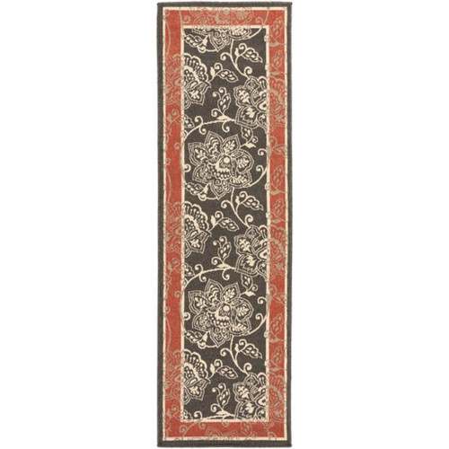 2.25' x 11.75' Red and Black Floral Rectangular Area Throw Rug Runner - IMAGE 1