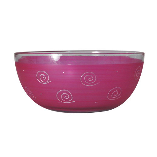 """Pink Swirls and Dots Hand Painted Glass Serving Bowl 11"""" - IMAGE 1"""
