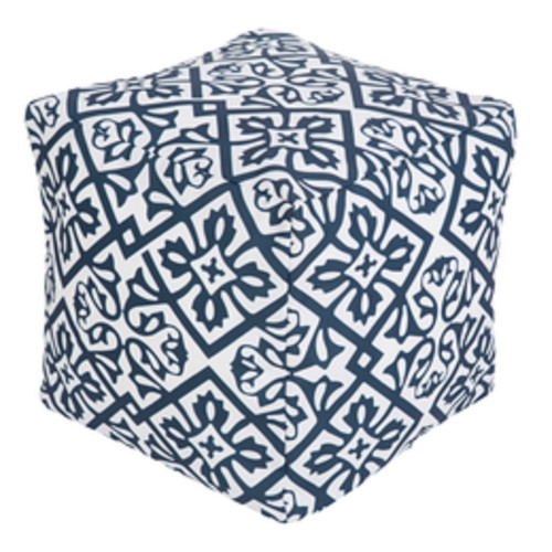 """18"""" Cobalt Blue and Ivory Floral Star Square Outdoor Patio Pouf Ottoman - IMAGE 1"""