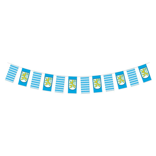 Club Pack of 12 Blue and White Oktoberfest Pennant Banner Outdoor Hanging Party Decorations 12' - IMAGE 1