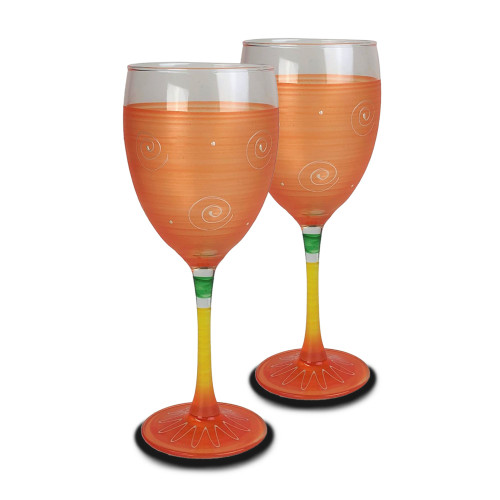 Set of 2 Orange and Yellow Contemporary Hand Painted Wine Glasses 10.5 oz. - IMAGE 1