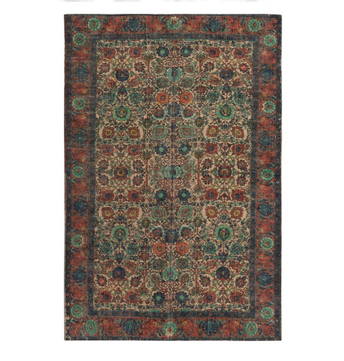 8' x 10' Floral Sand Brown and Cadet Blue Hand Woven Area Throw Rug - IMAGE 1