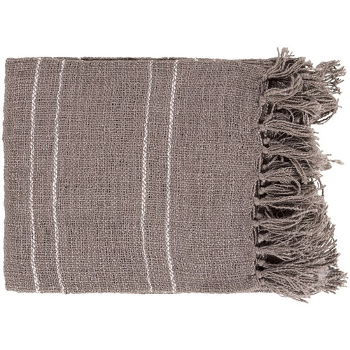 """Cappuccino Brown and Ivory White Woven and Fringed Throw Blanket 50"""" x 60"""" - IMAGE 1"""