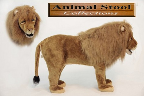 """32"""" Brown and Black Hand Crafted Realistic Stuffed Lion Stool - IMAGE 1"""