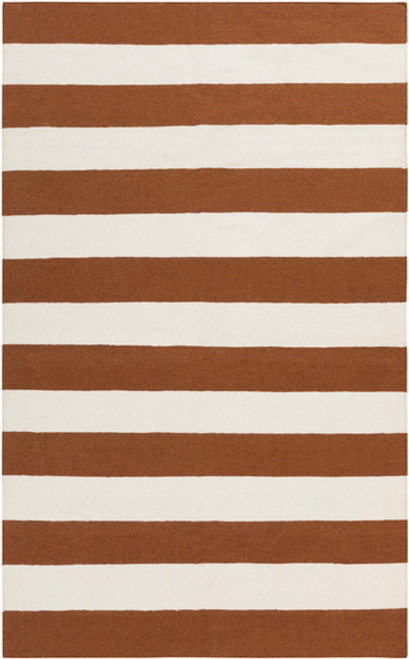 8' x 11' Accumbent Brown and Ivory Hand Woven Striped Rectangular Wool Area Throw Rug - IMAGE 1