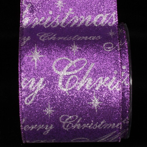"""Purple and Silver Merry Christmas Wired Craft Ribbon 4"""" x 20 Yards - IMAGE 1"""