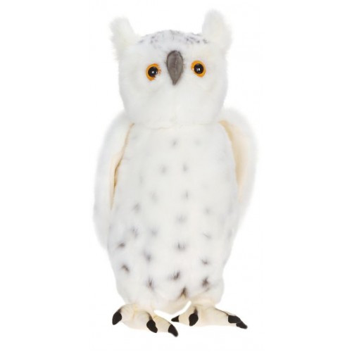 """Set of 2 White and Black Handcrafted Snowy Owl Stuffed Animals 15.75"""" - IMAGE 1"""
