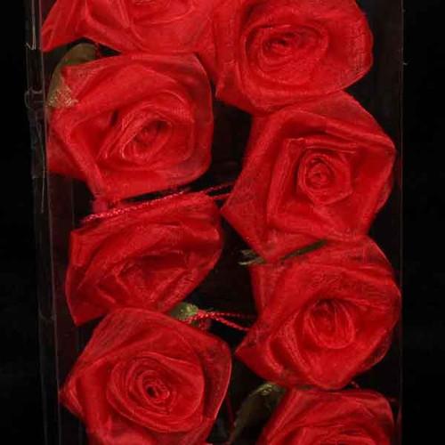 Cherry Red Rose Flower Wired Craft Garland 54' - IMAGE 1