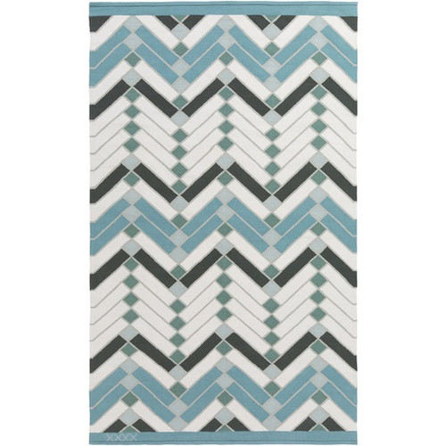 8' x 10' Geometric Blue and White Rectangular Area Throw Rug - IMAGE 1