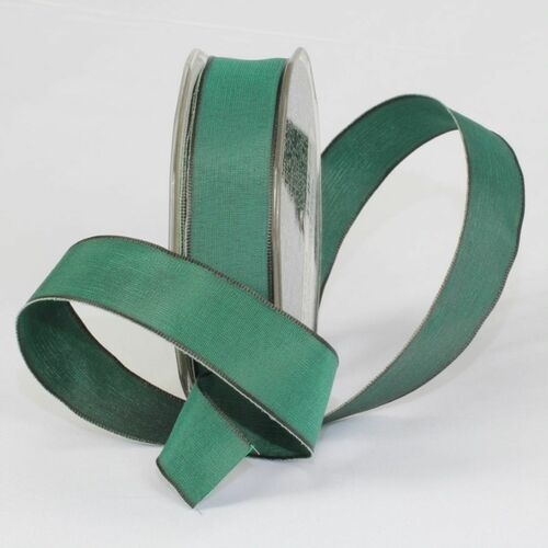 """Hunter Green Solid Wired Craft Ribbon 1"""" x 54 Yards - IMAGE 1"""