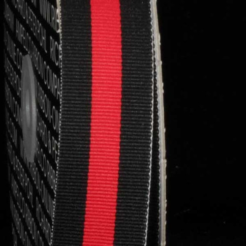 """Black and Red Striped Woven Grosgrain Craft Ribbon 1"""" x 55 Yards - IMAGE 1"""