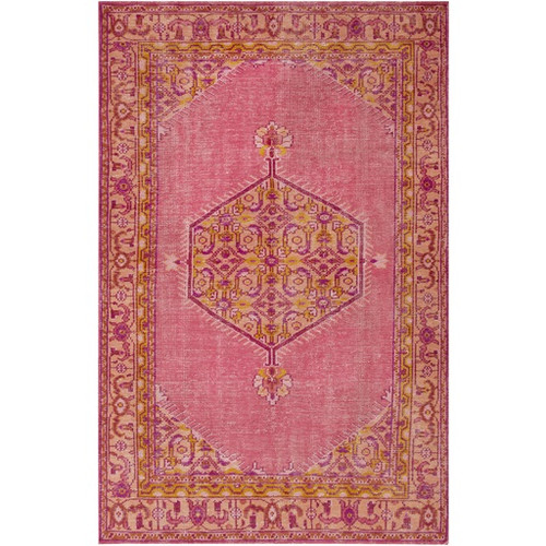 3.5' x 5.5' Rouge Pink and Purple Wool Rectangular Area Throw Rug - IMAGE 1