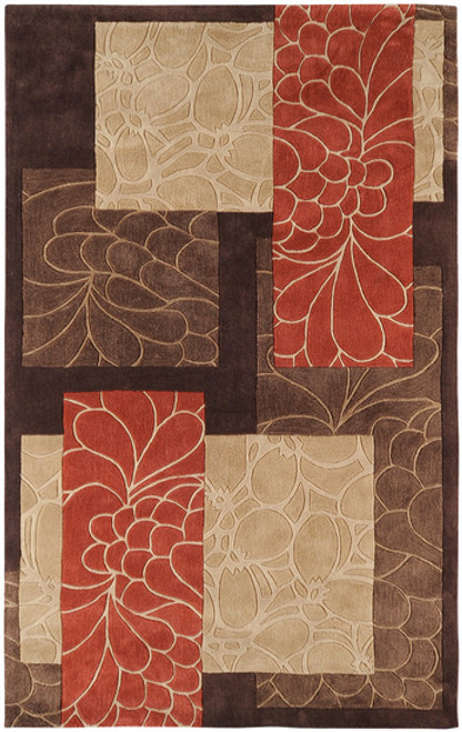 9' x 13' Fiori Brown and Burnt Orange Hand Tufted Rectangular Polyester Area Throw Rug - IMAGE 1