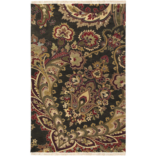 5.5' x 8.5' Floral Black and Red Hand Knotted Rectangular Wool Area Throw Rug - IMAGE 1