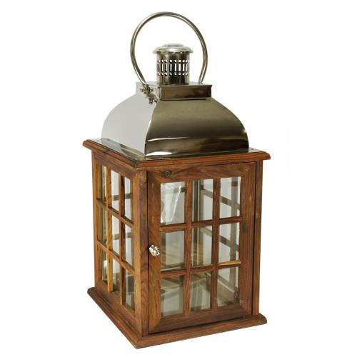 "30"" Oversized Modern Sheesham Wood Candle Lantern with Silver Metal Handle - IMAGE 1"