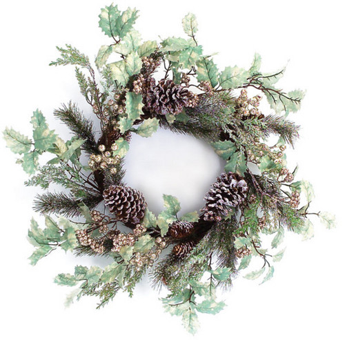 Holly Frosted Pine Cone Artificial Christmas Wreath - 24-Inch, Unlit - IMAGE 1
