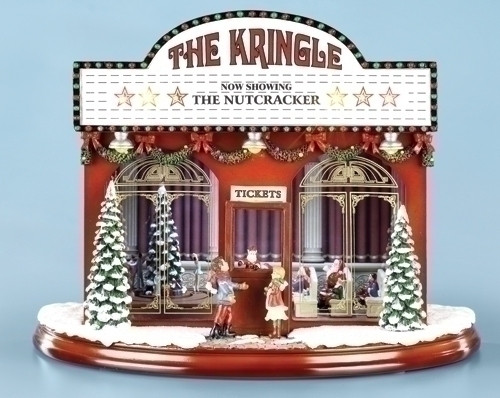 "12.75"" Red and White Lighted Musical Kringle Theatre Christmas Decor - IMAGE 1"