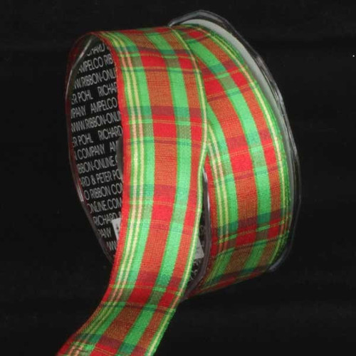 """Red and Green Plaid Wired Craft Ribbon 1.5"""" x 27 Yards - IMAGE 1"""