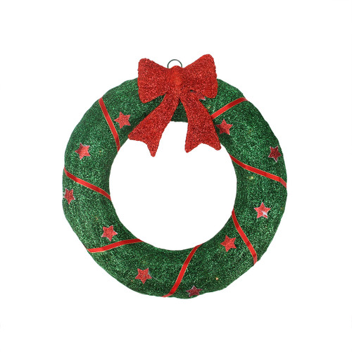 """18"""" Lighted Sisal Wreath with Stars and Bow Christmas Outdoor Decoration - IMAGE 1"""
