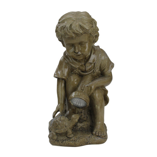 """12.25"""" Solar Powered LED Lighted Boy Examining Turtle with Flashlight Outdoor Garden Statue - IMAGE 1"""