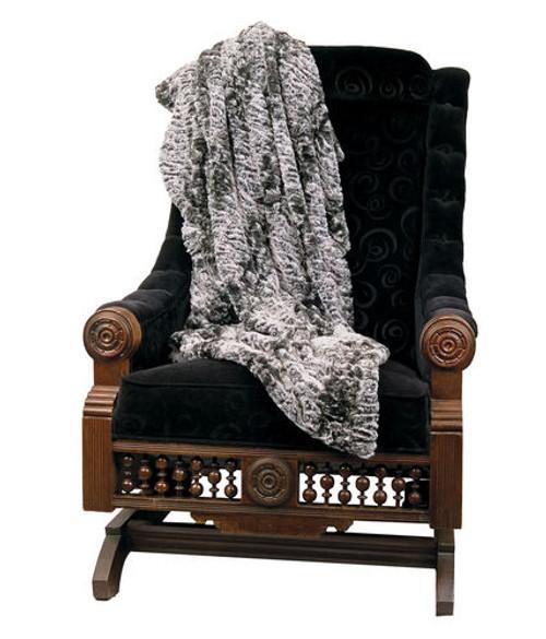 "Gray and Black Persian Lamb Animal Faux Fur Throw Blanket 50"" x 58"" - IMAGE 1"