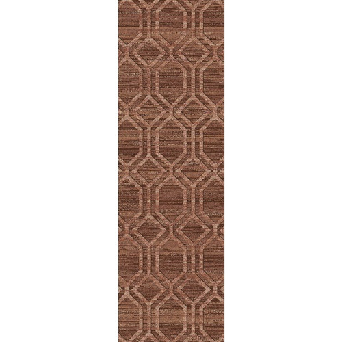 2.5' x 8' Geometric Brick Red and Coconut Brown Area Throw Rug Runner - IMAGE 1