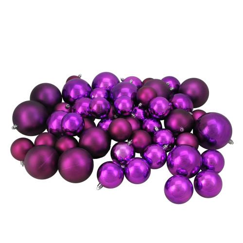 "50ct Purple Shatterproof 2-Finish Christmas Ball Ornaments 4"" (100mm) - IMAGE 1"
