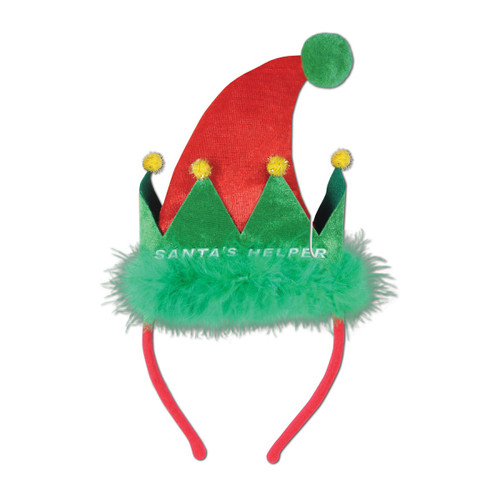 """Pack of 12 Green and Red """"Santa's Helper"""" Snap-on Christmas Headband Accessories - IMAGE 1"""