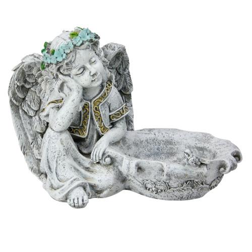 "10"" Gray Resting Angel Bird Feeder Outdoor Garden Statue - IMAGE 1"