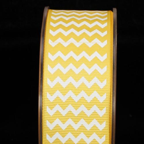 "Yellow and White Chevron Grosgrain Craft Ribbon 1.5"" x 120 Yards - IMAGE 1"